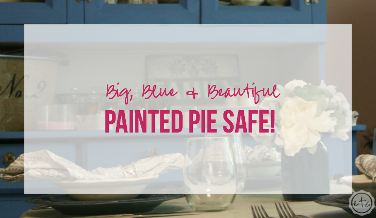 Big Blue Beautiful Painted Pie Safe with Happily Ever After Etc
