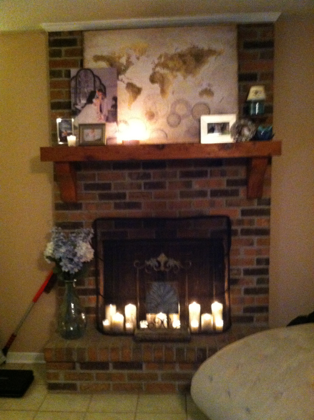 Fireplace Design fireplace etc : A little sparkle! Adding Candles to the Fireplace - Happily Ever ...