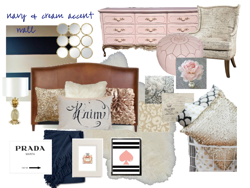 Navy, Blush and Gold Mood Board for Karlie
