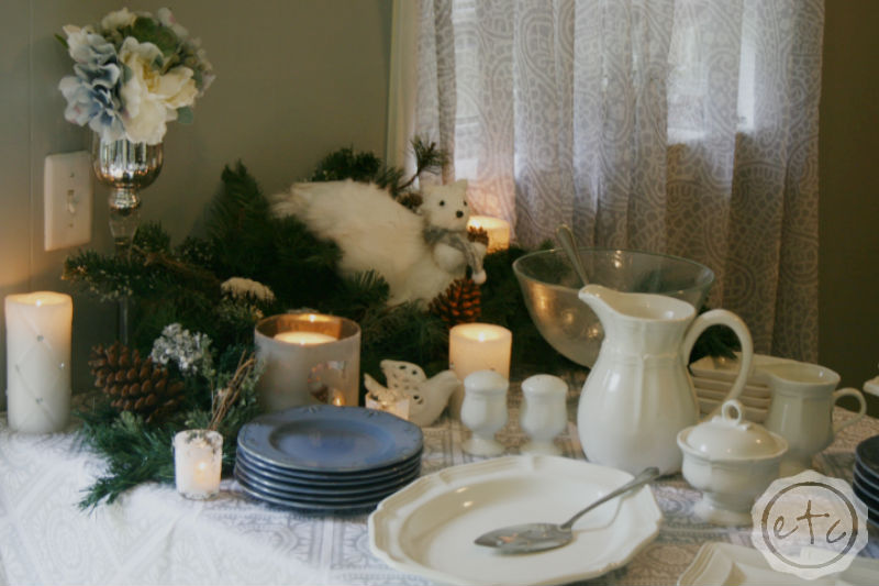Christmas Dining Room with At Home and Happily Ever After, Etc.
