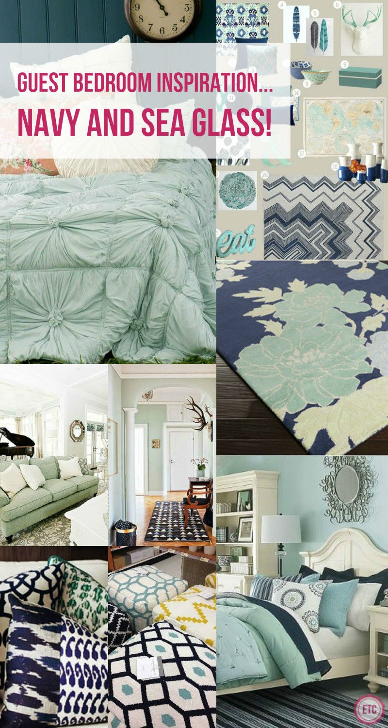 Guest Bedroom Inspiration... Navy and Sea Glass!