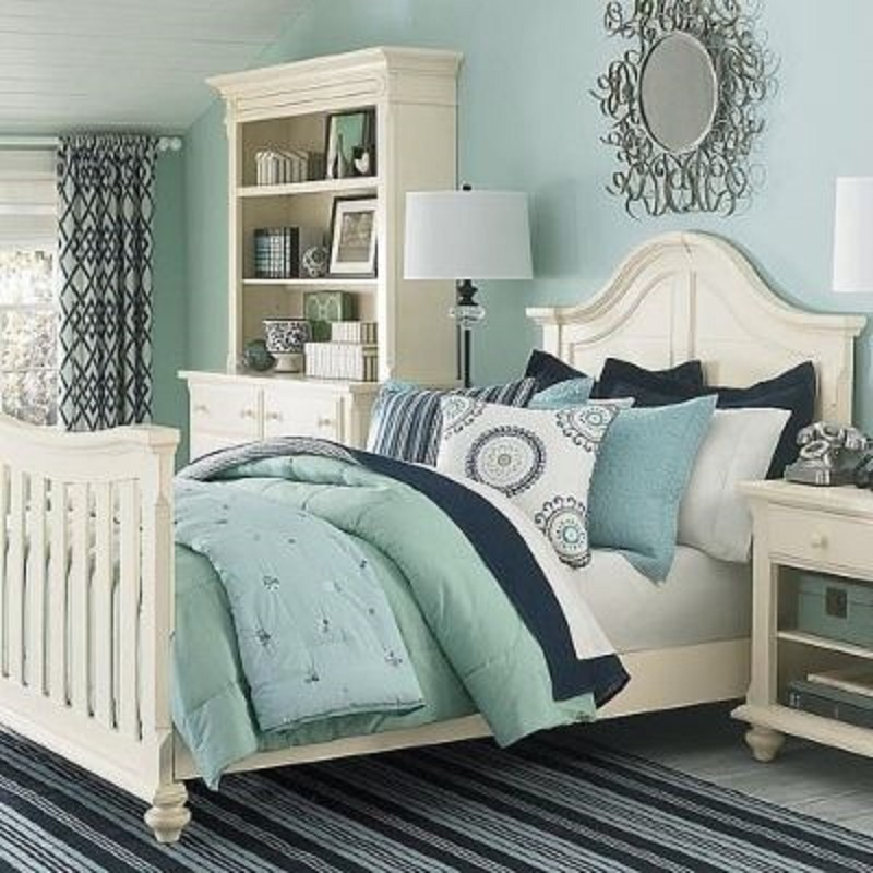 guest bedroom inspiration navy and sea glass happily