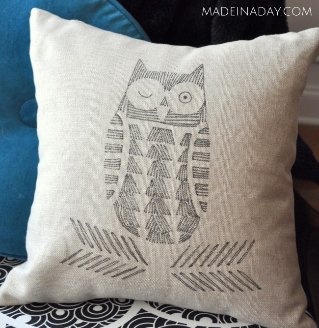 Hand-Drawn-Pillow-Cover-Fabric-Pens-Cutting-Edge-Stencils-madeinaday.com_1-650x667