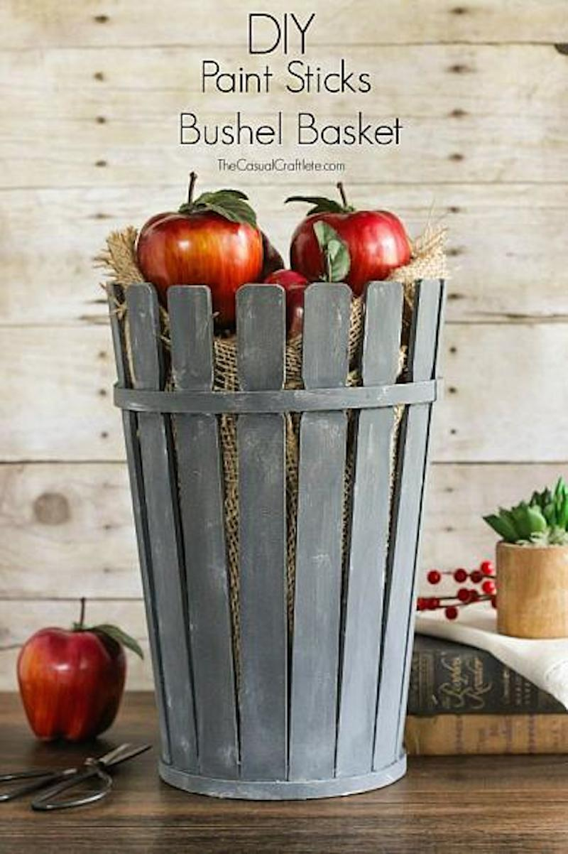 2 DIY Paint Sticks Bushel Basket