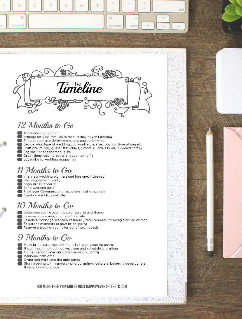 Black Wedding Binder Timeline