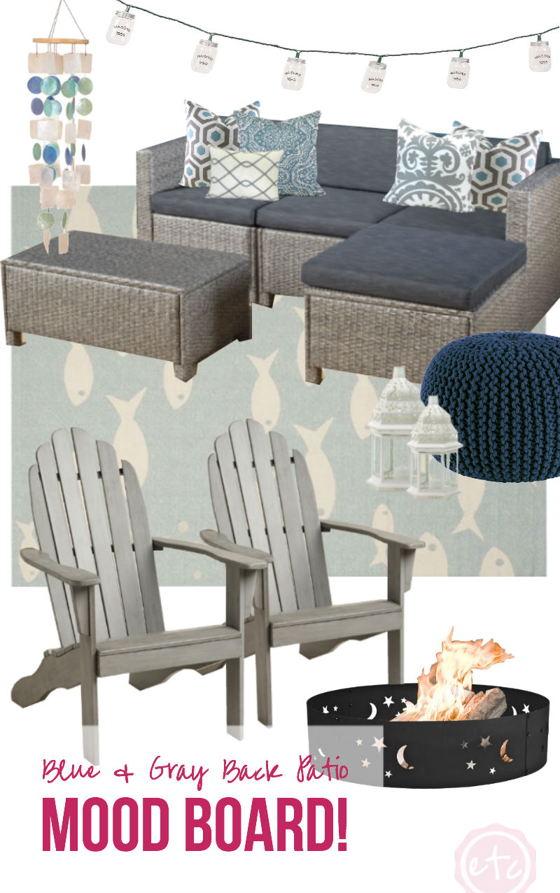 Blue & Gray Back Patio Mood Board!