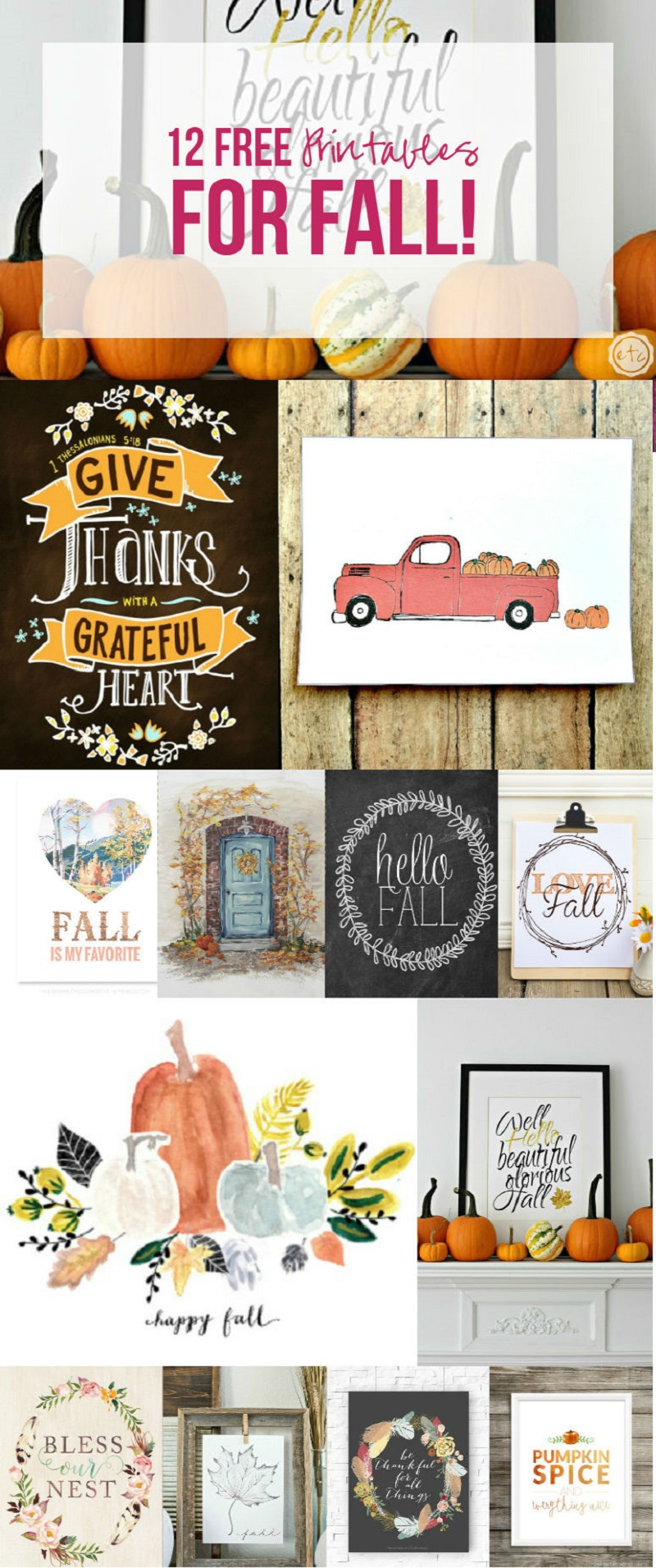 12 Free Printables for Fall... y'all I need like all of these. Especially the little pickup with the pumpkins!