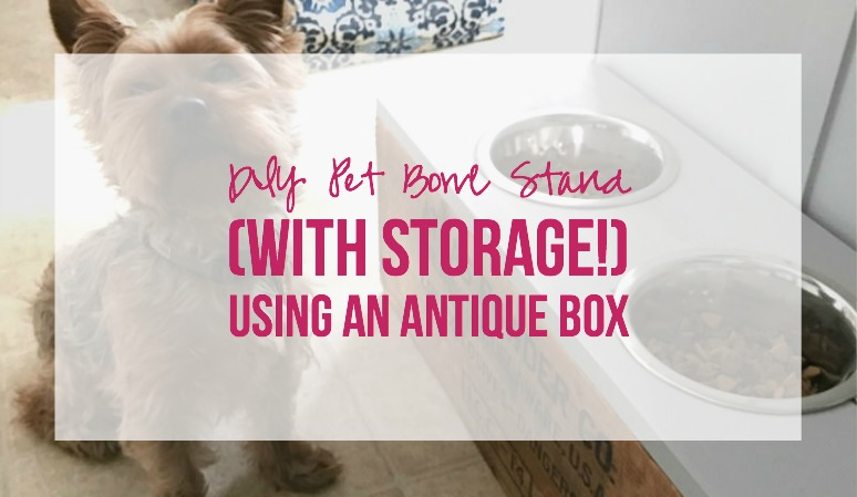 DIY Pet Bowl Stand (with Storage!) using an Antique Box