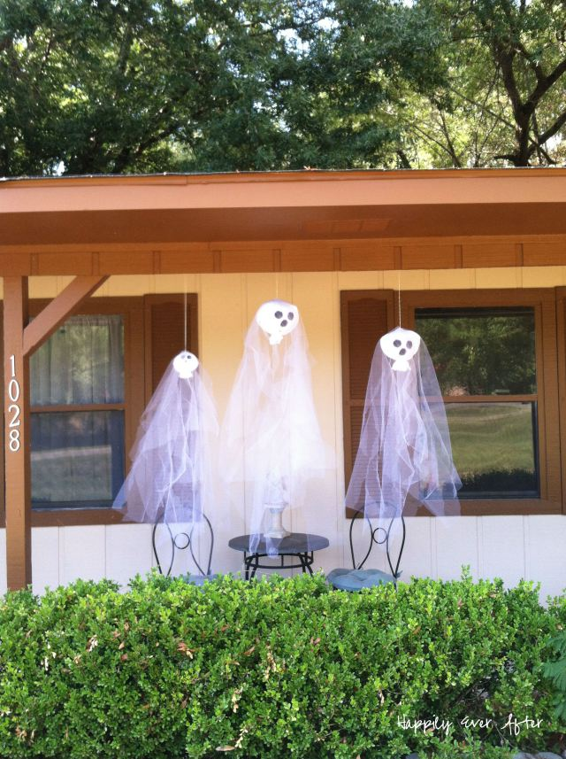 Is It Fall Yet - DIY Porch Hanging Ghosts | Happily Ever After Etc.
