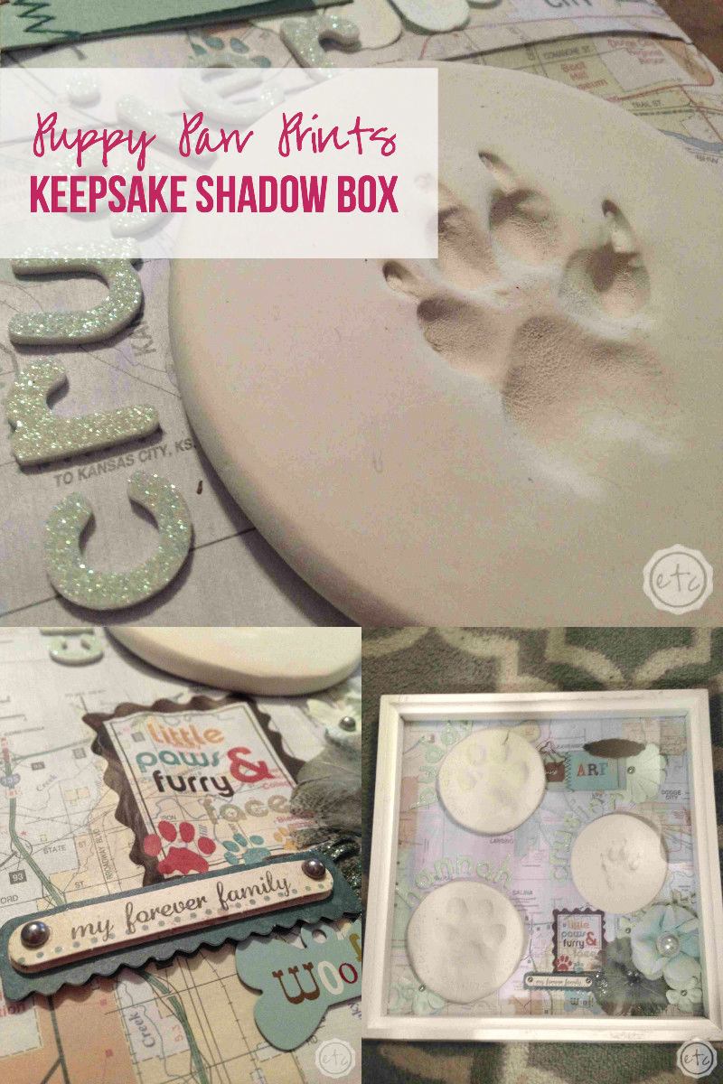 Puppy Paw Prints - Keepsake Shadow Box with Happily Ever After Etc