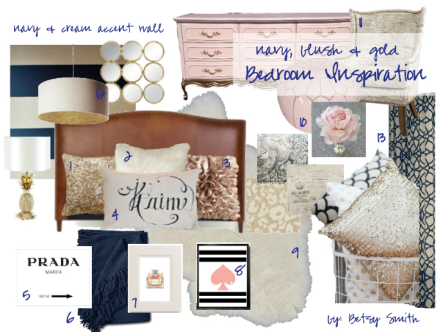 Navy, Blush and Gold Bedroom Inspiration | Happily Ever After Etc.