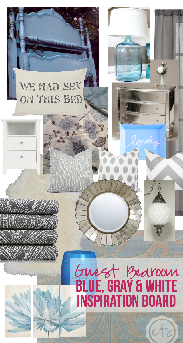 Guest Bedroom: Bue, Gray & White Inspiration Board | Happily Ever After, Etc.