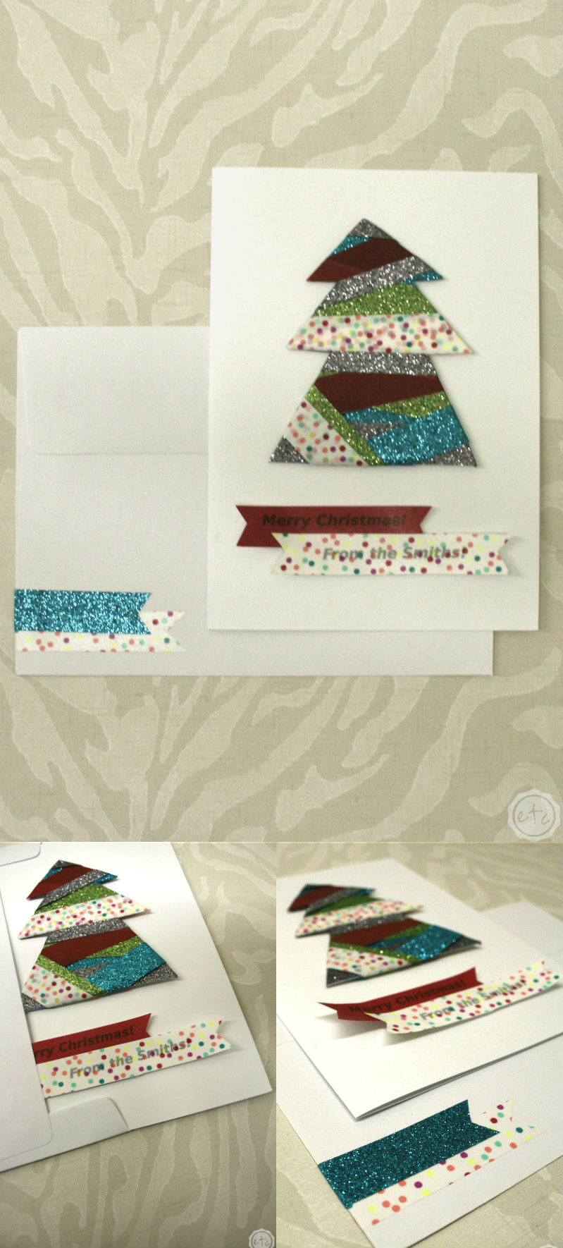 DIY Washi Christmas Cards: 10 Christmas Card Designs with only 7 Rolls of Washi! Check it Out at Happily Ever After, Etc.