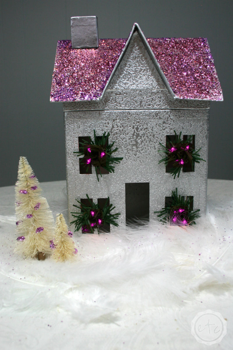 DIY Christmas Glitter House... Thrift Store Swap 3!