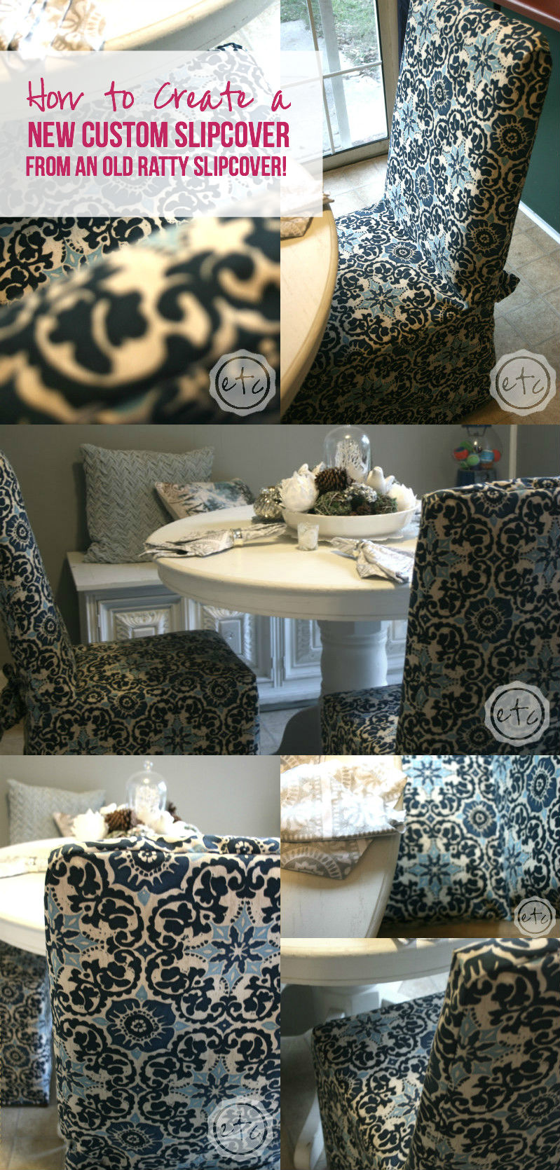 How to Create a New Custom Slipcover... from an Old Ratty Slipcover! with Happily Ever After, Etc.