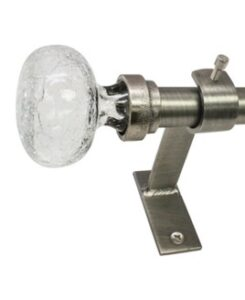 chrome curtain rod with hardware and a crackled glass end