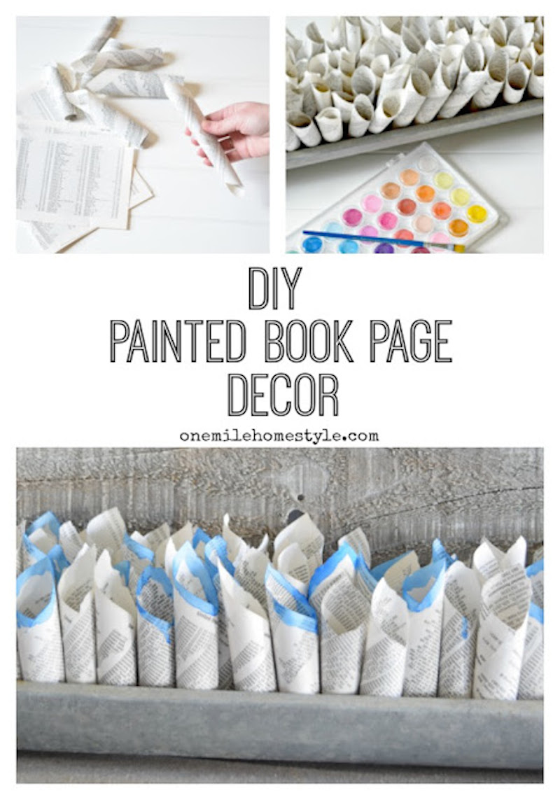 8 DIY Painted Book Page Decor