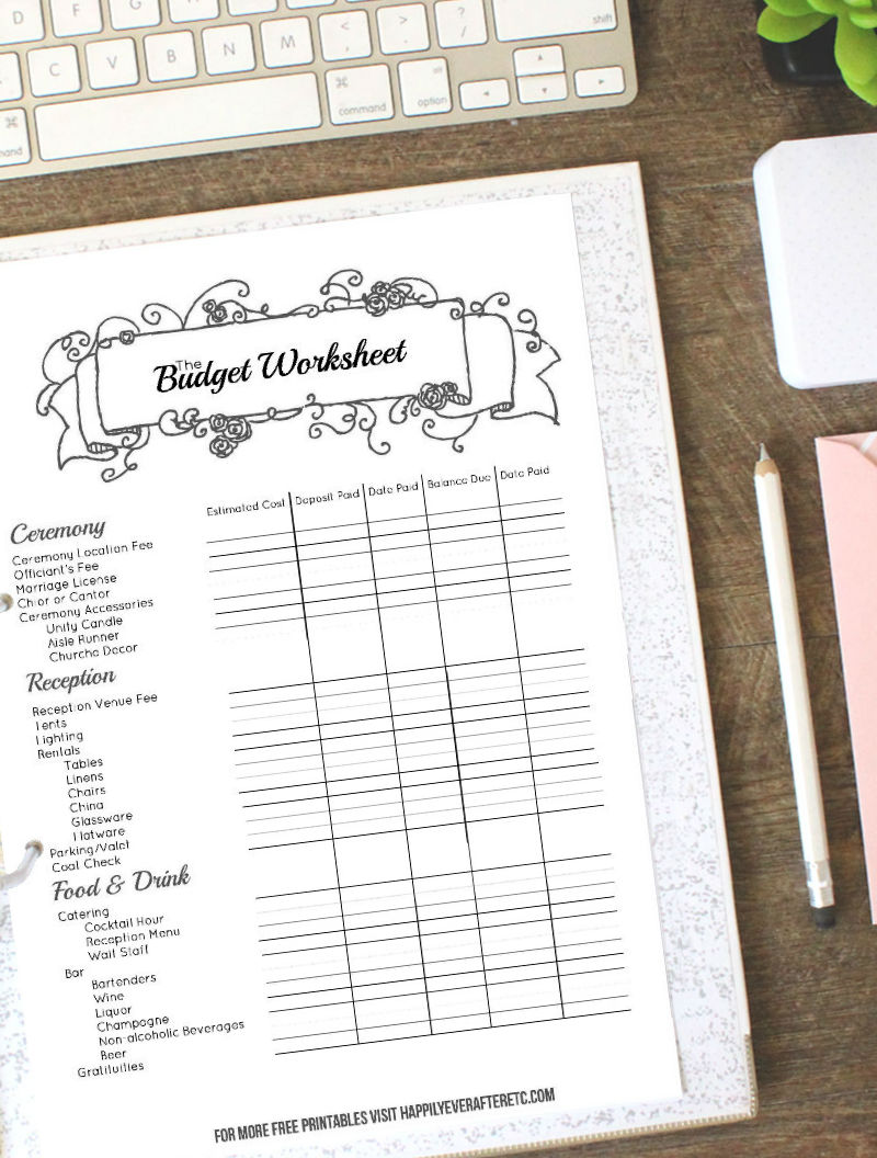 Black Wedding Binder Budget 2