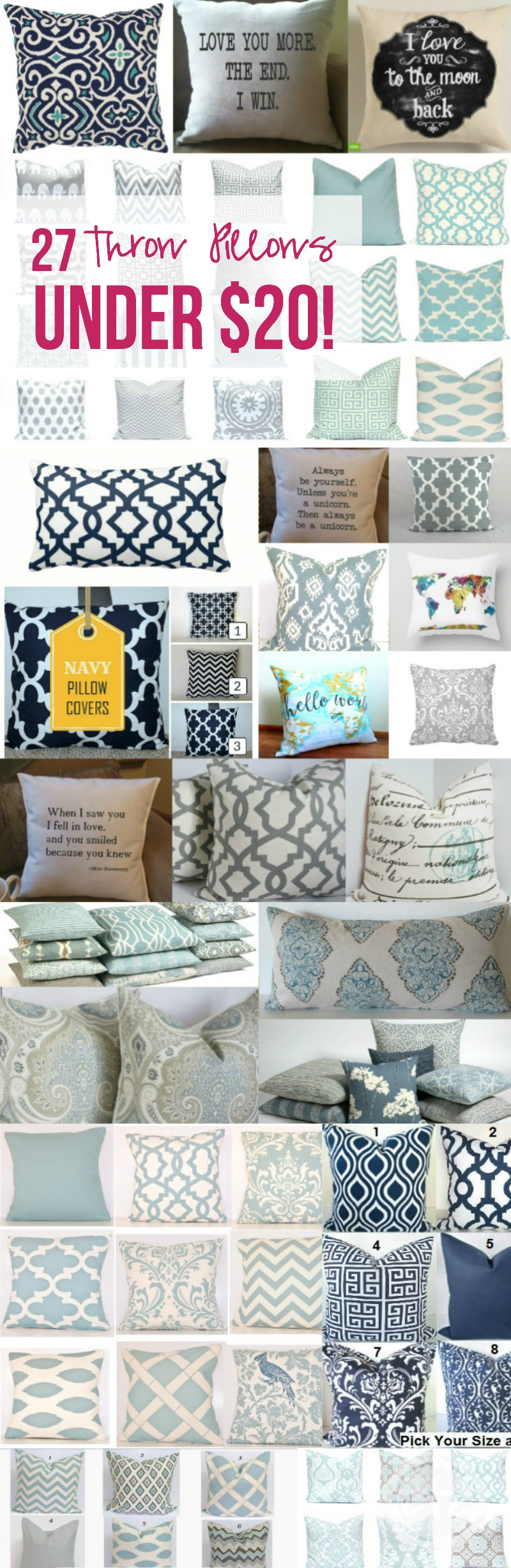 How cue are all of these throw pillows?! There's so many of them... I see at least 5 I just HAVE to have! Click through to read more or pin for later! @HappilyEverAEtc