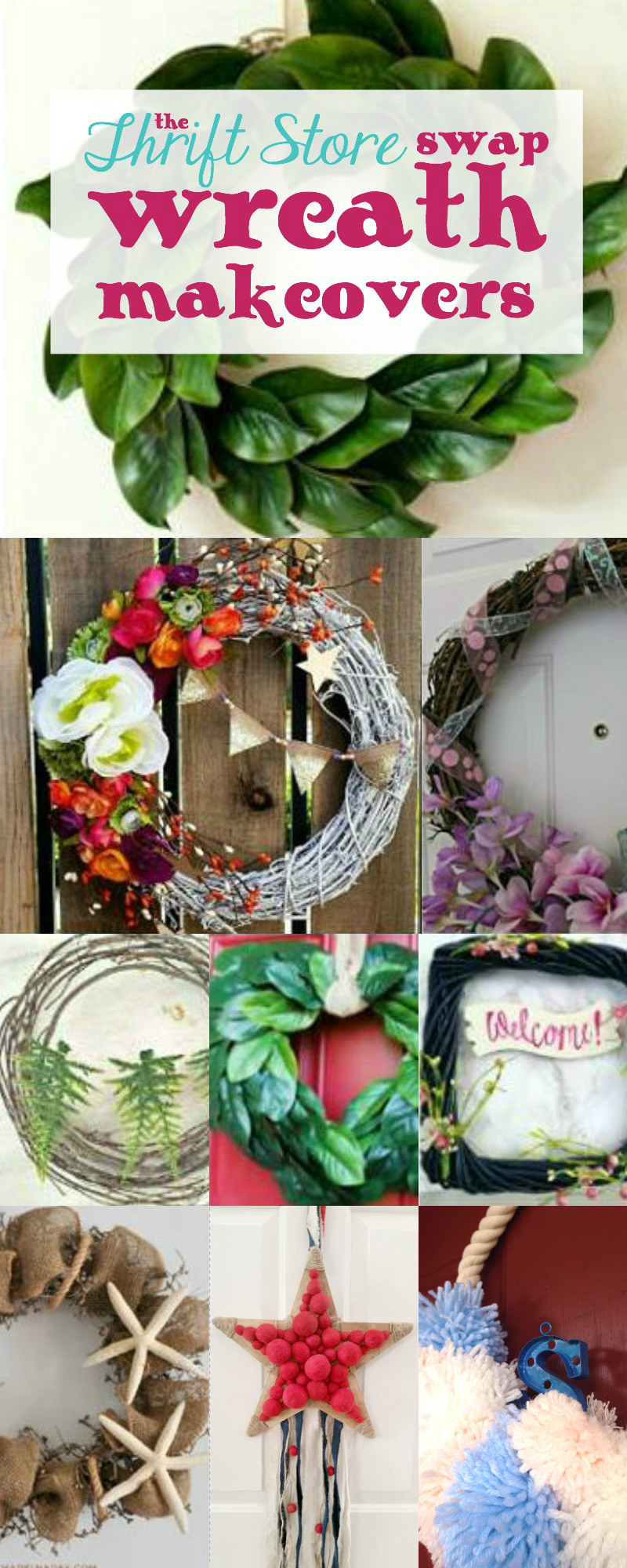 Thrift Store Swap Wreath Makeovers with Happily Ever After, Etc.