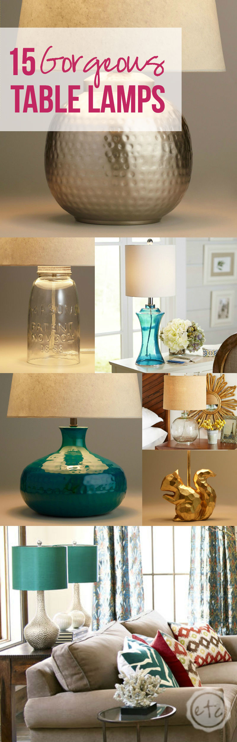 How amazing are these gorgeous table lamps?! I love the cute mercury glass one! Click through to read more! @HappilyEverAEtc