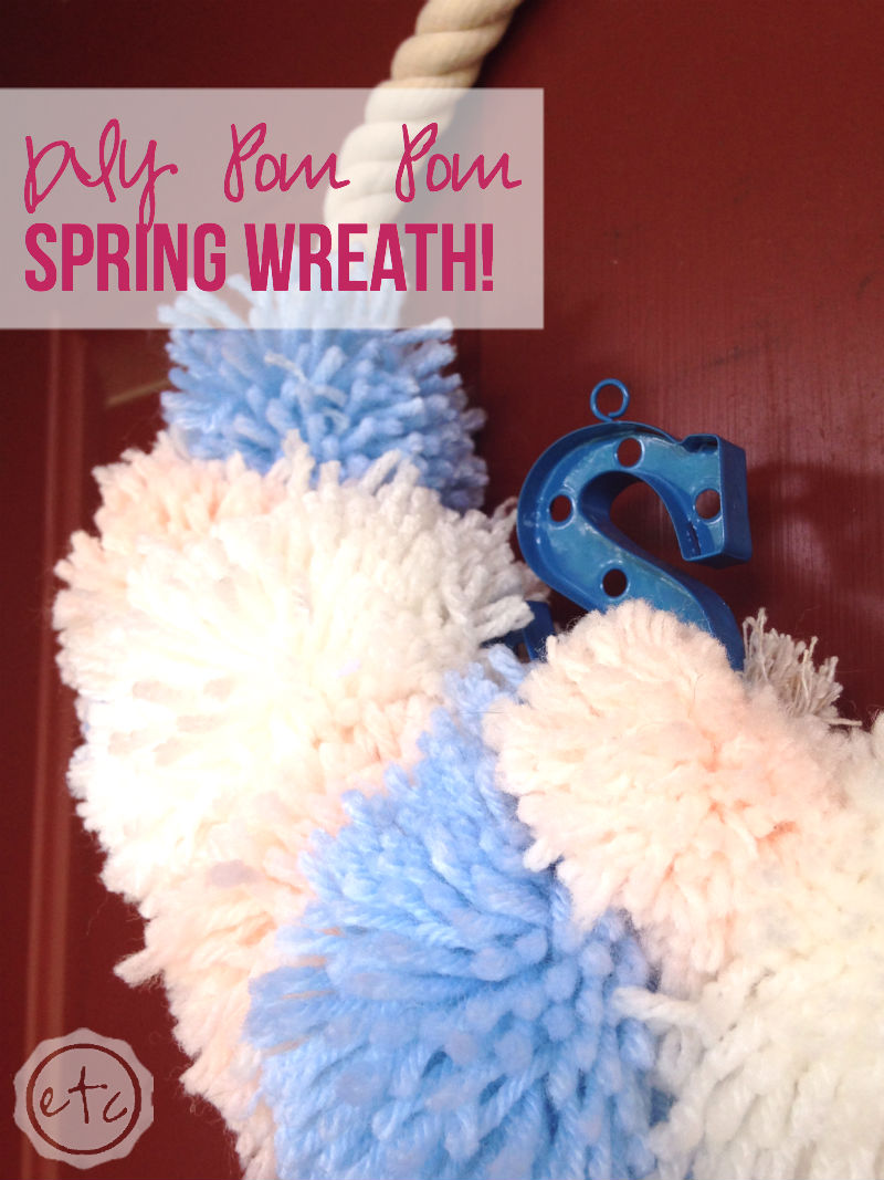 Oh my goodness how cute is this little DIY Pom Pom wreath? It looks so easy... I could totally make this for my front door! I love the Thrift Store Swap, they always have the best projects! Click through to read more @HappilyEverAEtc