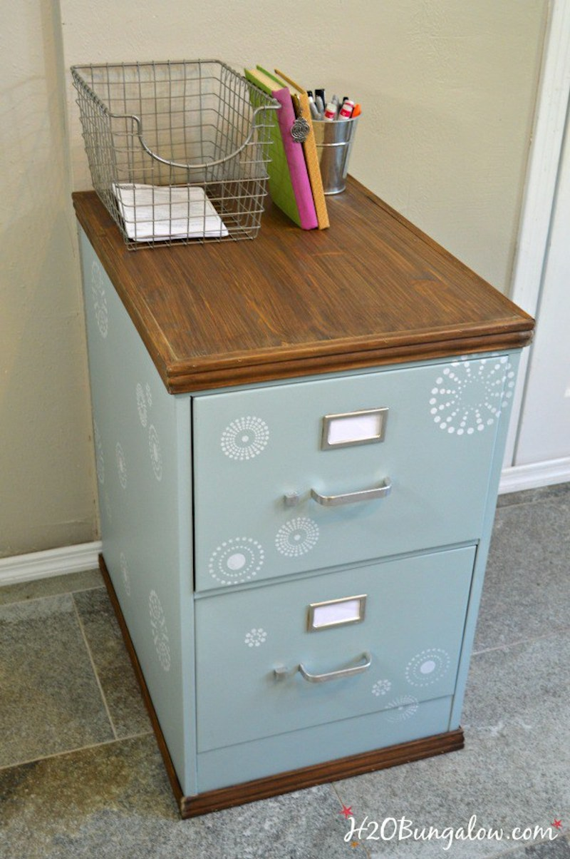 4 Upcycled-stenciled-metal-file-cabinet-with-stained-wood-top-H2OBungalow