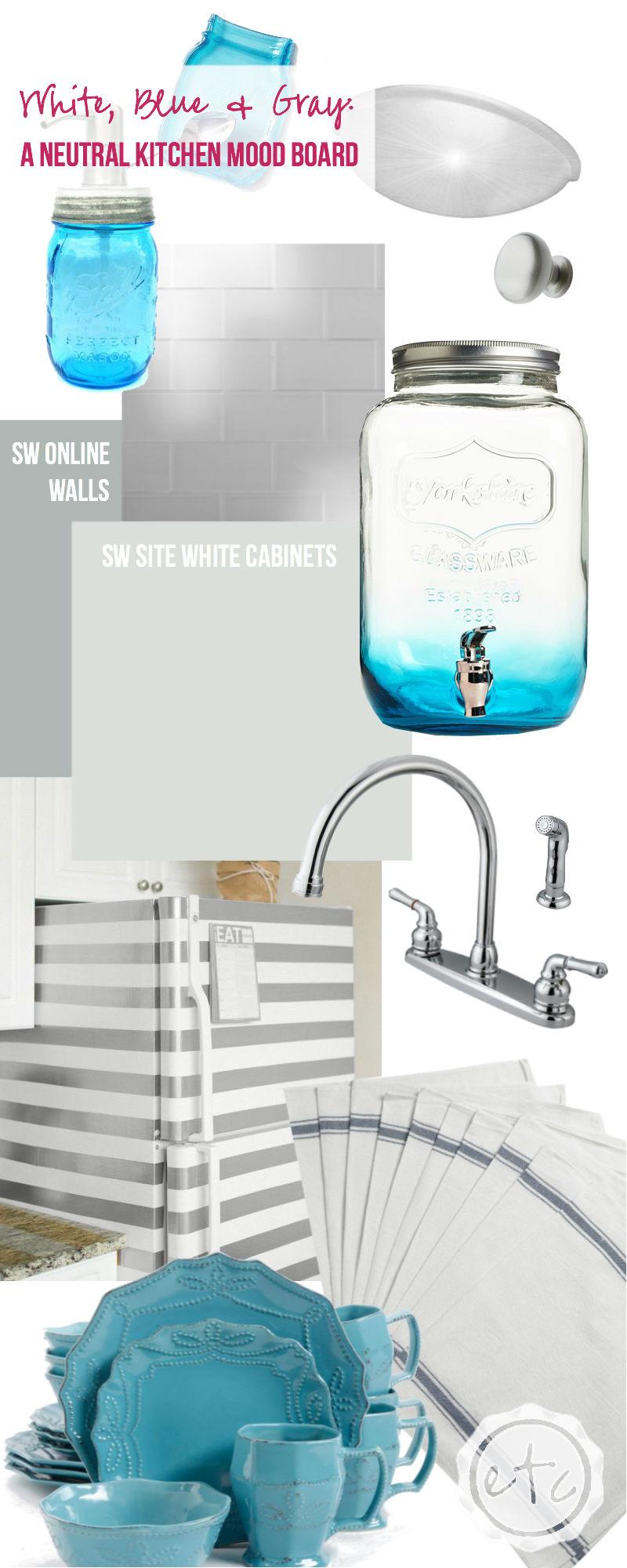 White, Blue & Gray: a Neutral Kitchen Mood Board