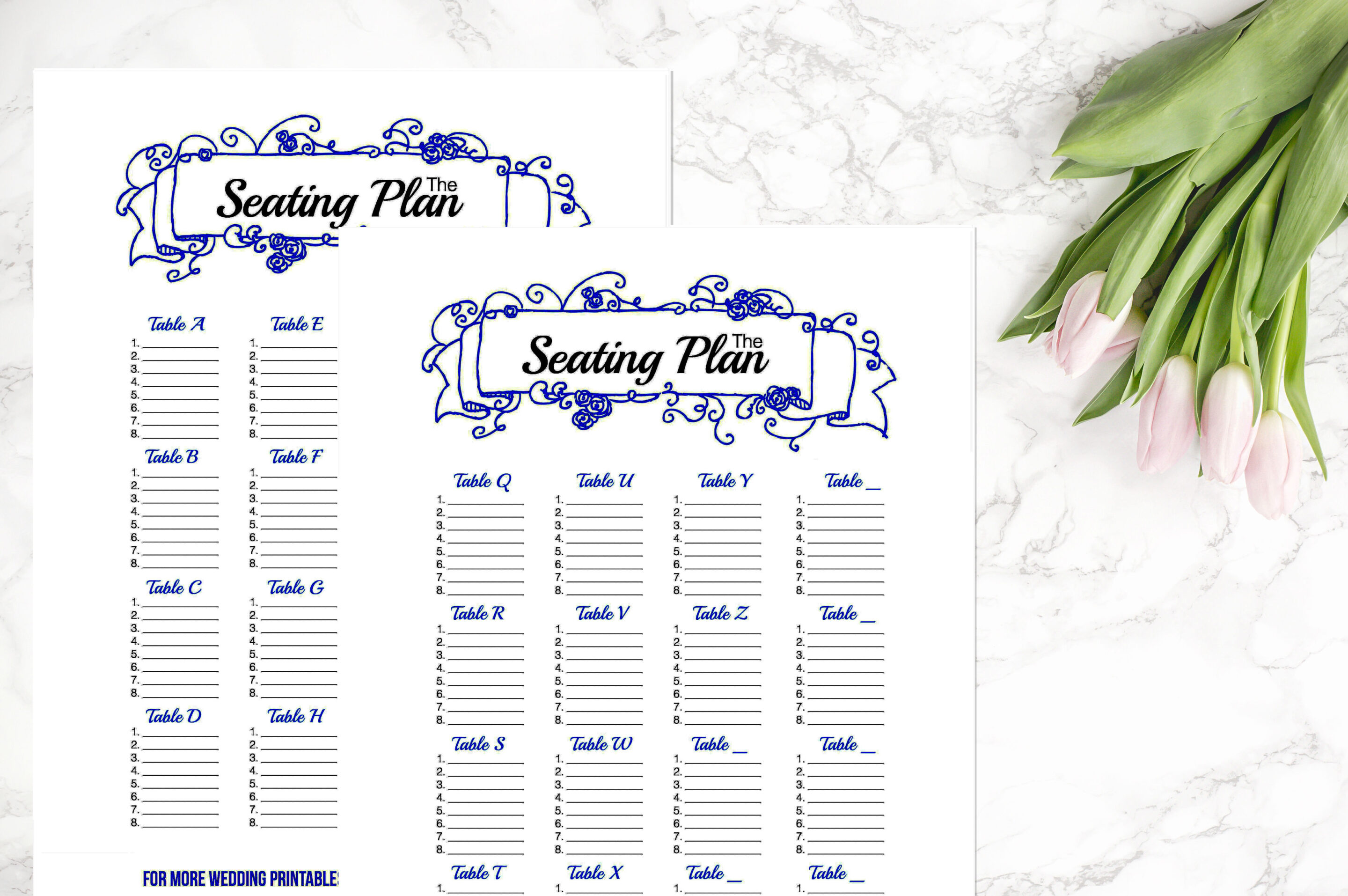 Wedding Binder - Royal Blue Seating Chart Plans - Happily ...
