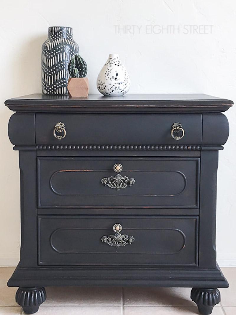 8 Black Painted Distressed Nightstand 650-1