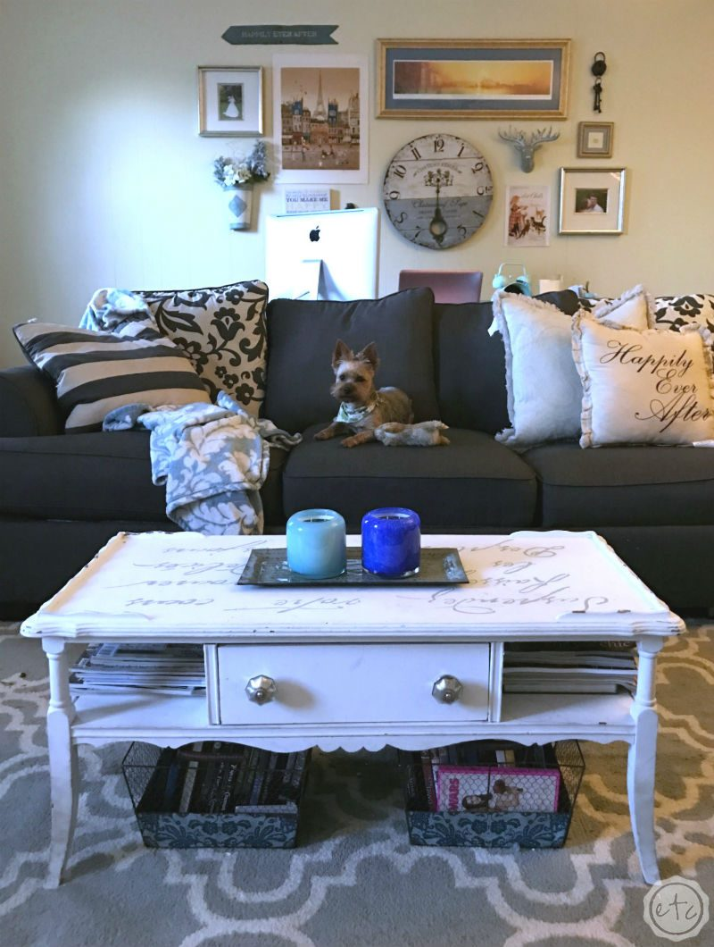 Living room: gray couch, gallery wall, yorkie, and a stenciled coffee table painted with white chalk paint
