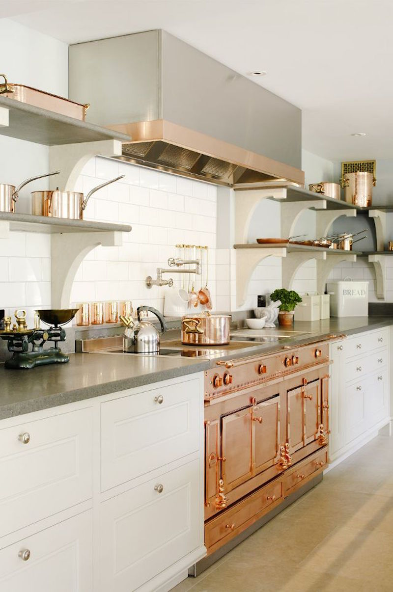 If you have the space that copper range is quite the statement piece! Of  course, in a smaller space the open shelving would be an easy addition.