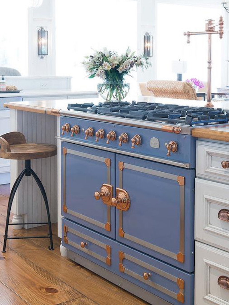 Okay, The Copper Range Is Amazing But What About This Dusky Blue Range With Copper  Accents? I Was Thinking Blue Cabinets With A Copper Drop Sink But This ...