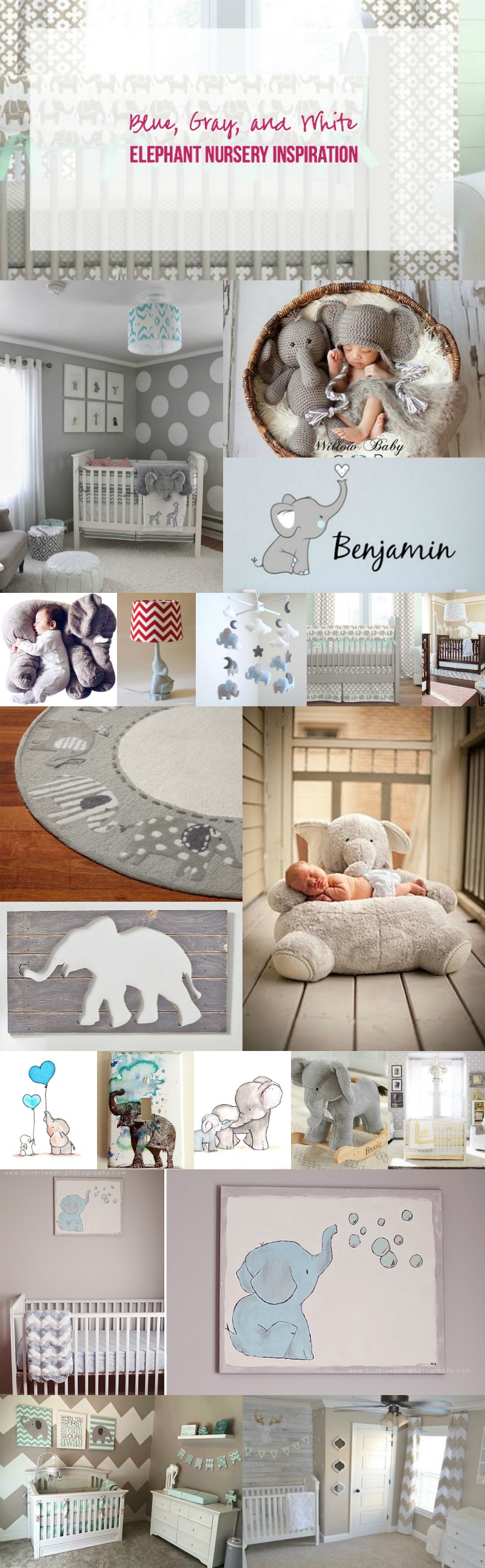 Blue, Gray, and White Elephant Nursery Inspiration