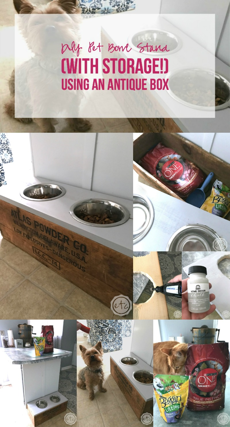 Diy Pet Bowl Stand With Storage Using An Antique Box Happily Ever After Etc