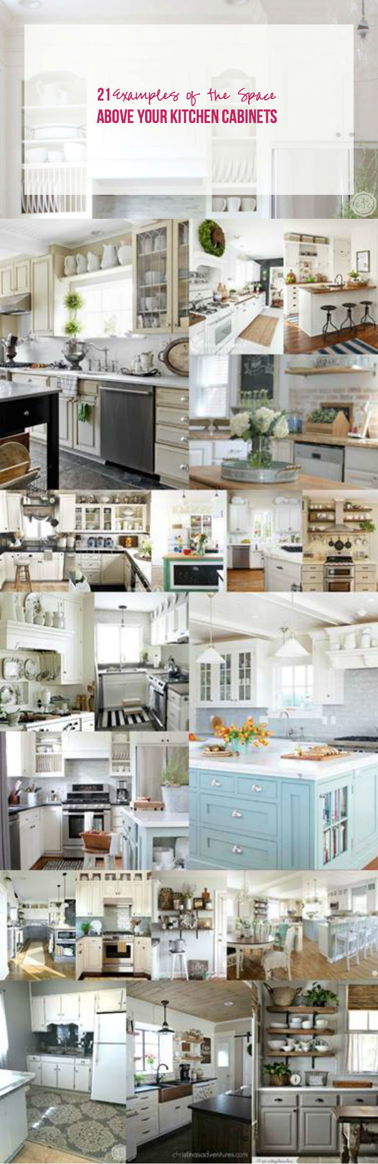 21 examples of the space above your Kitchen Cabinets