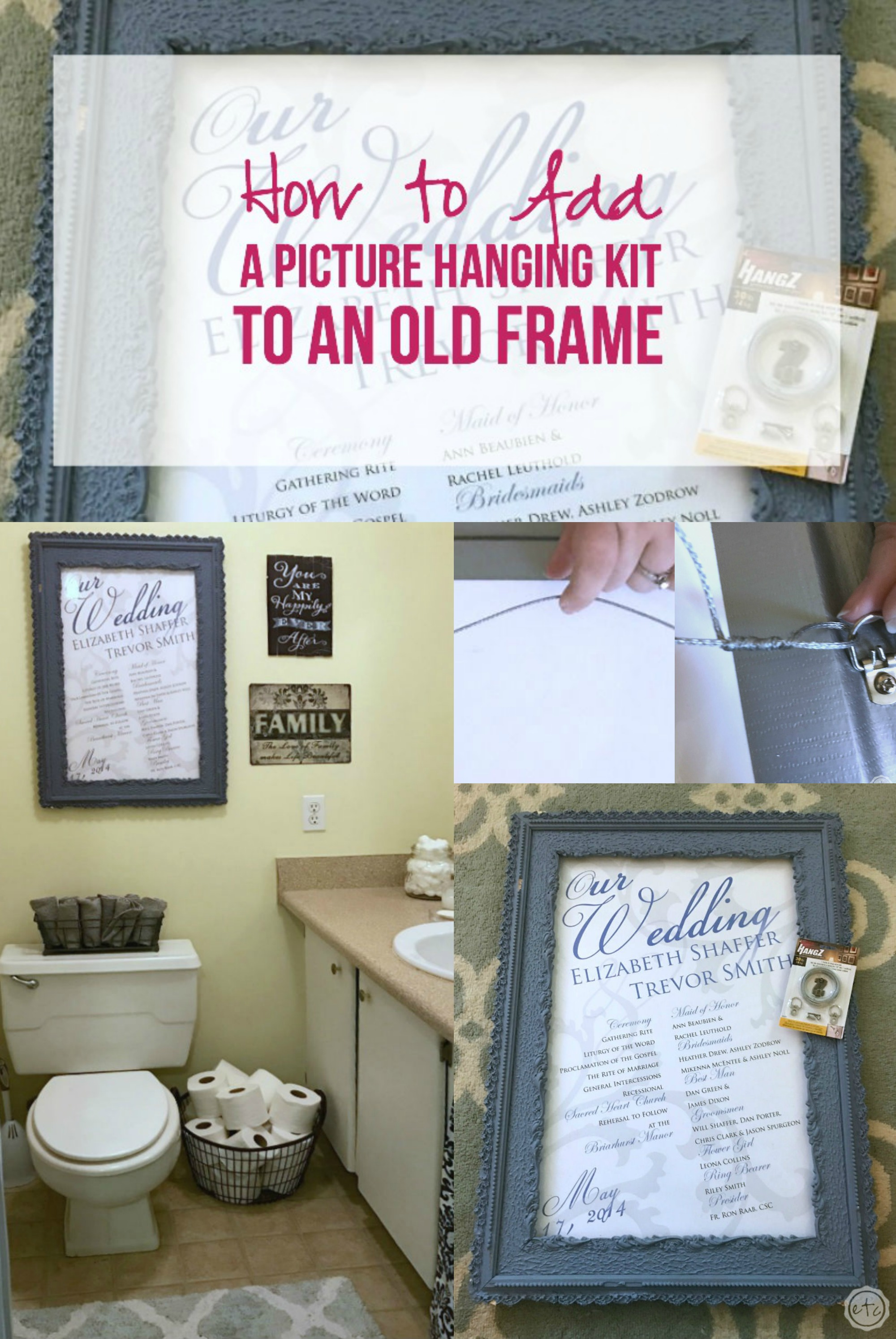 How to Add a Picture Hanging Kit to an Old Frame