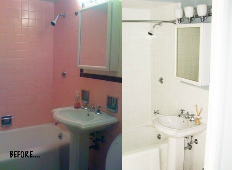 Itu0027s Amazing How A Little Bit Of White Can Instantly Elevate A Space! This  Pink Lady Just Painted Her Tile And Instantly It Looks Like A Whole New  Bathroom! Part 59