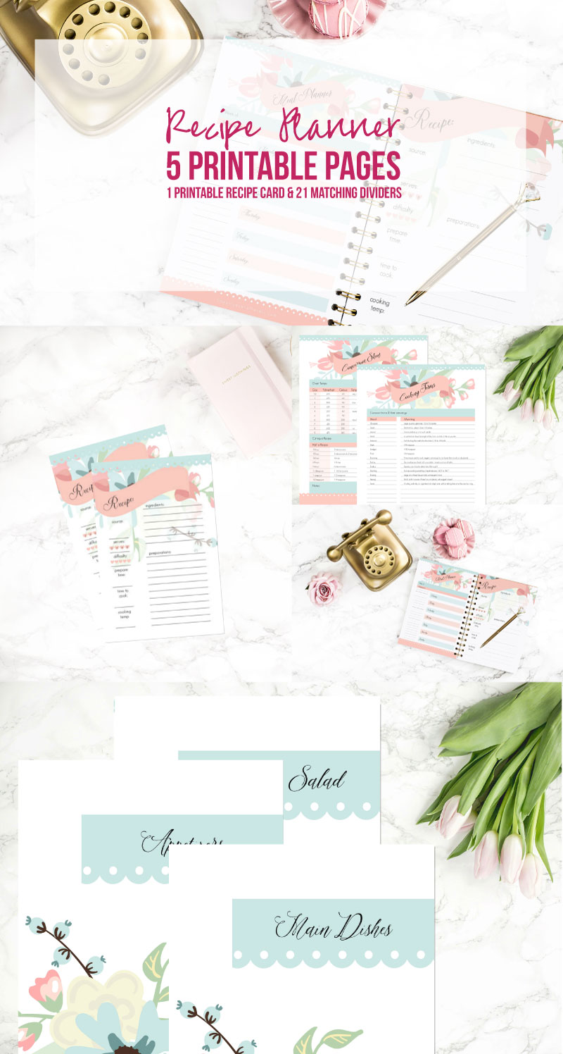 Floral Recipe Planner: 5 Printable Pages, 1 Printable ...