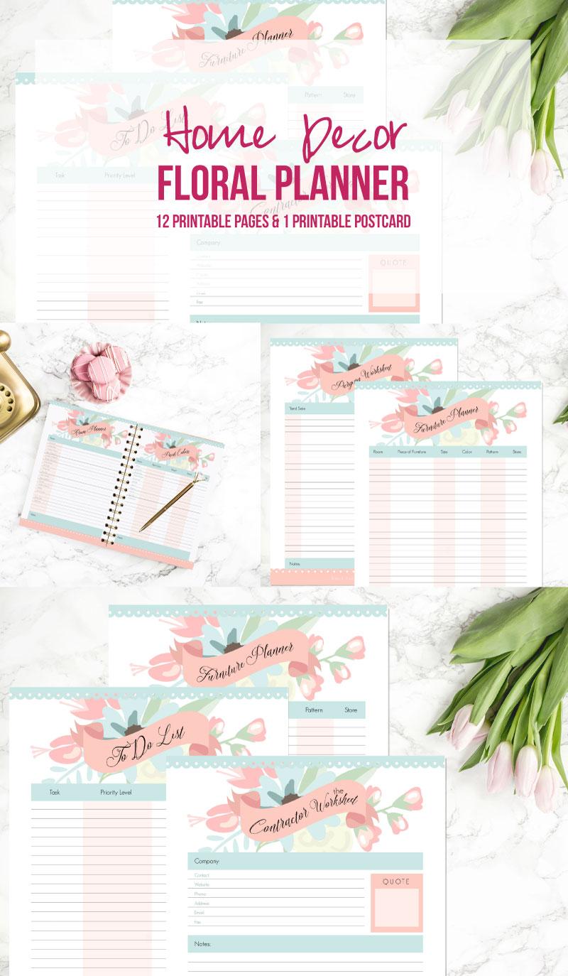 Floral home decorating planner 12 printables 1 for Home decor planner
