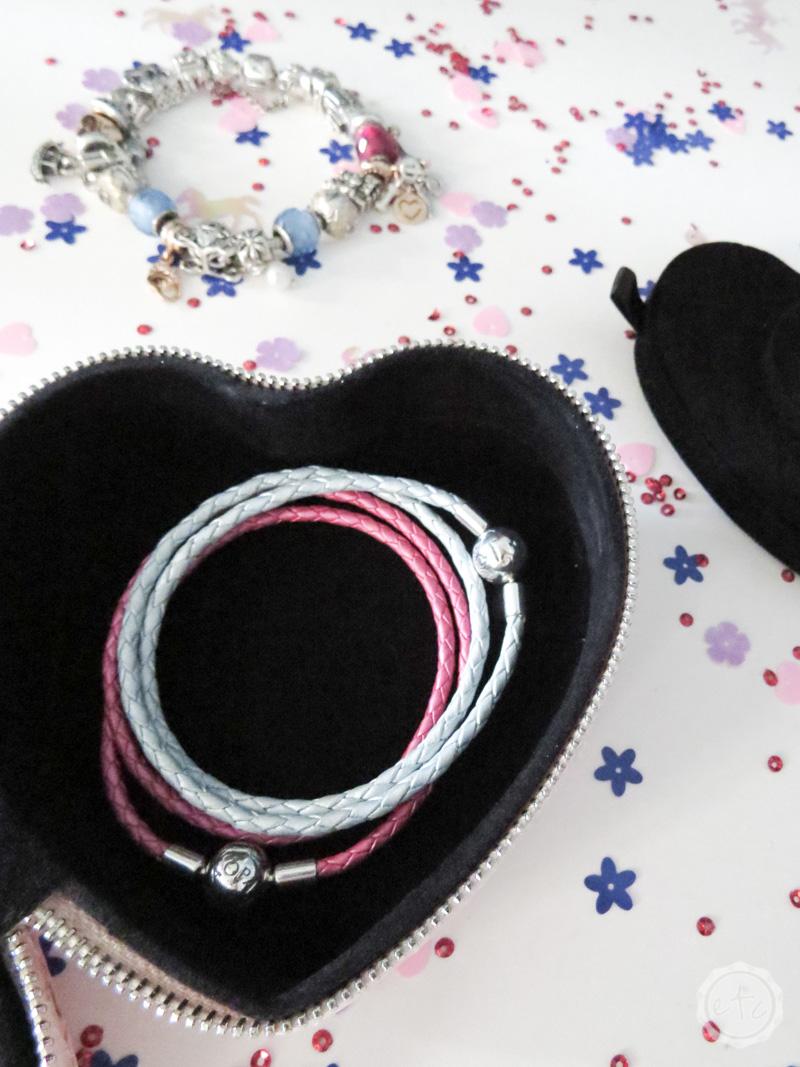 Pandora charm braclets inside a jewelry box
