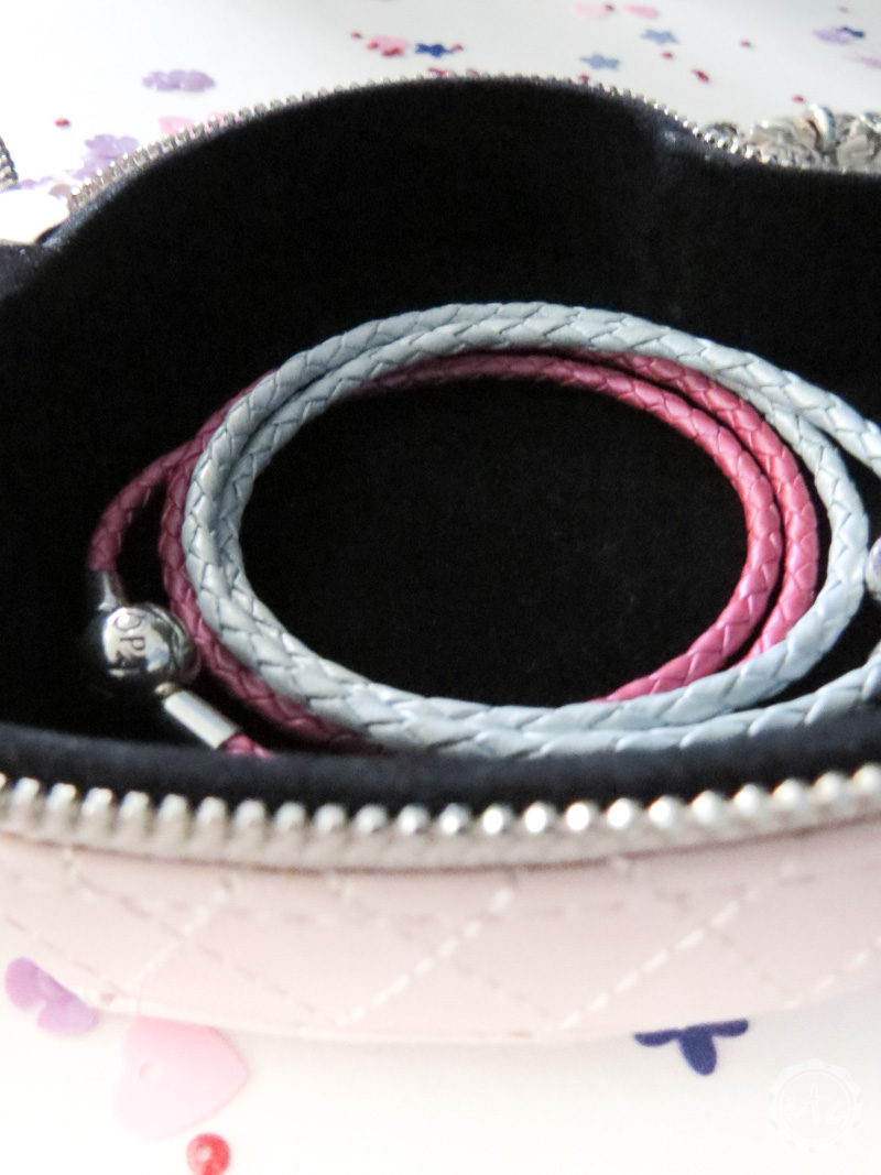 Pandora leather braided braclets inside a pandora jewelry box