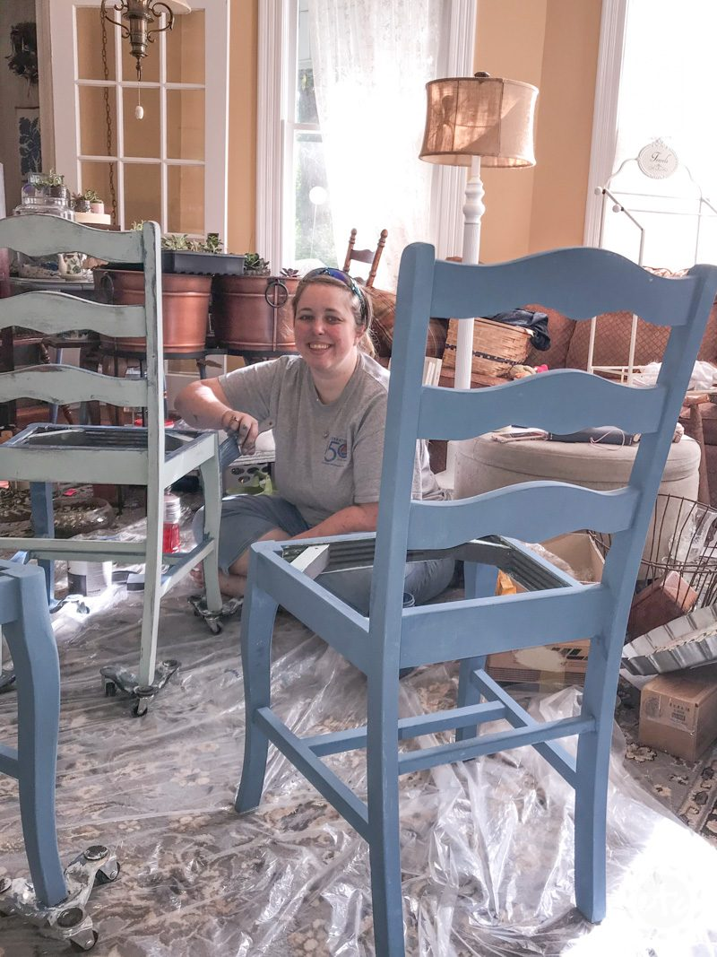Starting to layer chalk paint in a furniture paint tutorial