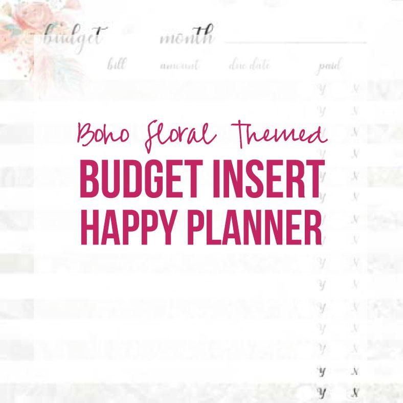 photograph regarding Happy Planner Budget Printable named Boho Floral Add Price range (Joyful Planner, Printable)