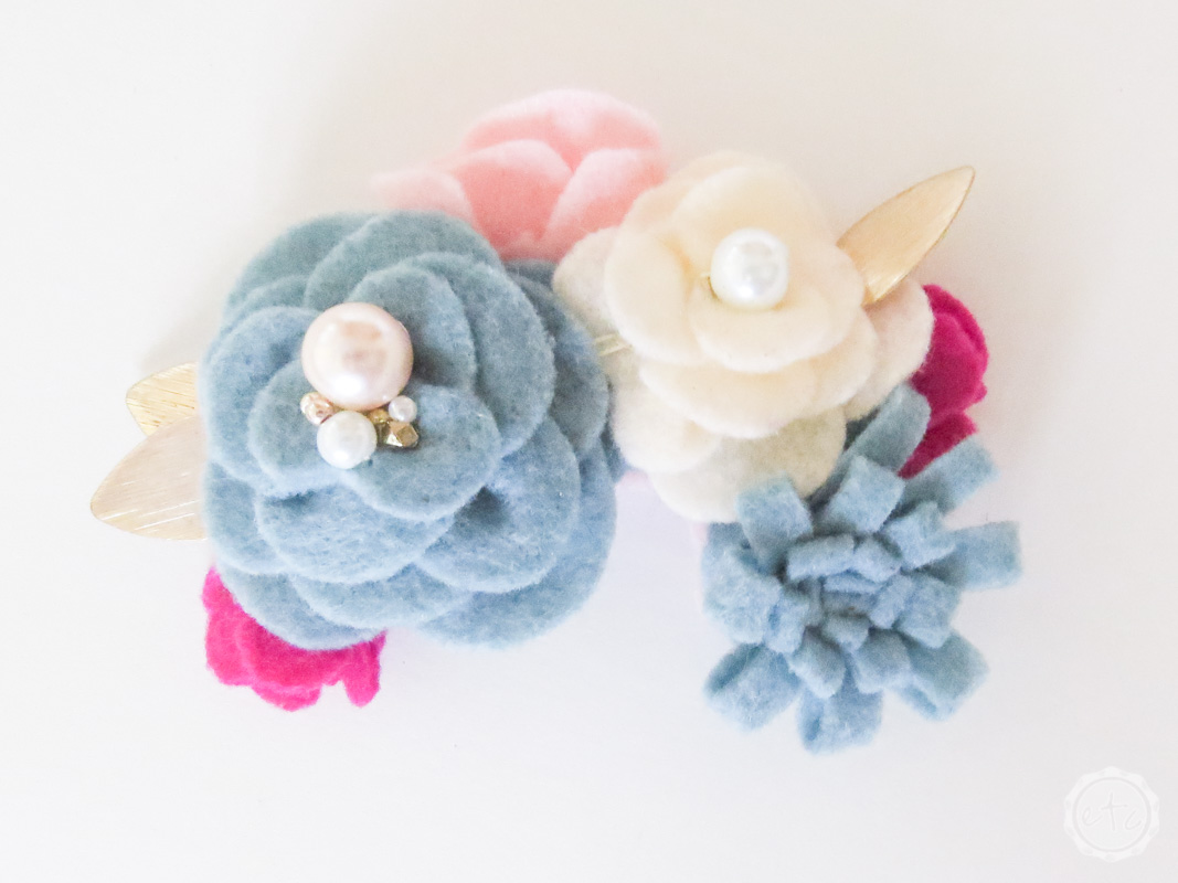 Large Blue Blush And Hot Pink Flowers Felt Floral Swag Happily