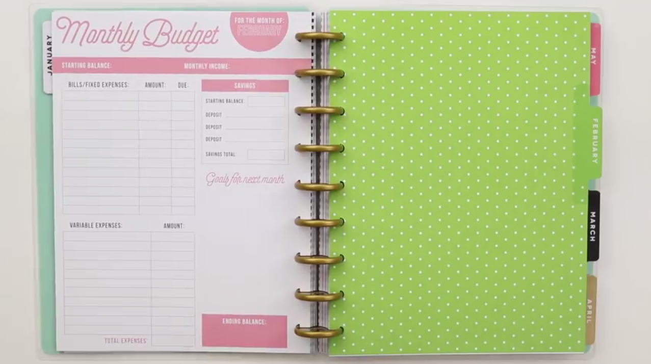 Happy Planner 2019: Budget Interior Page Layout