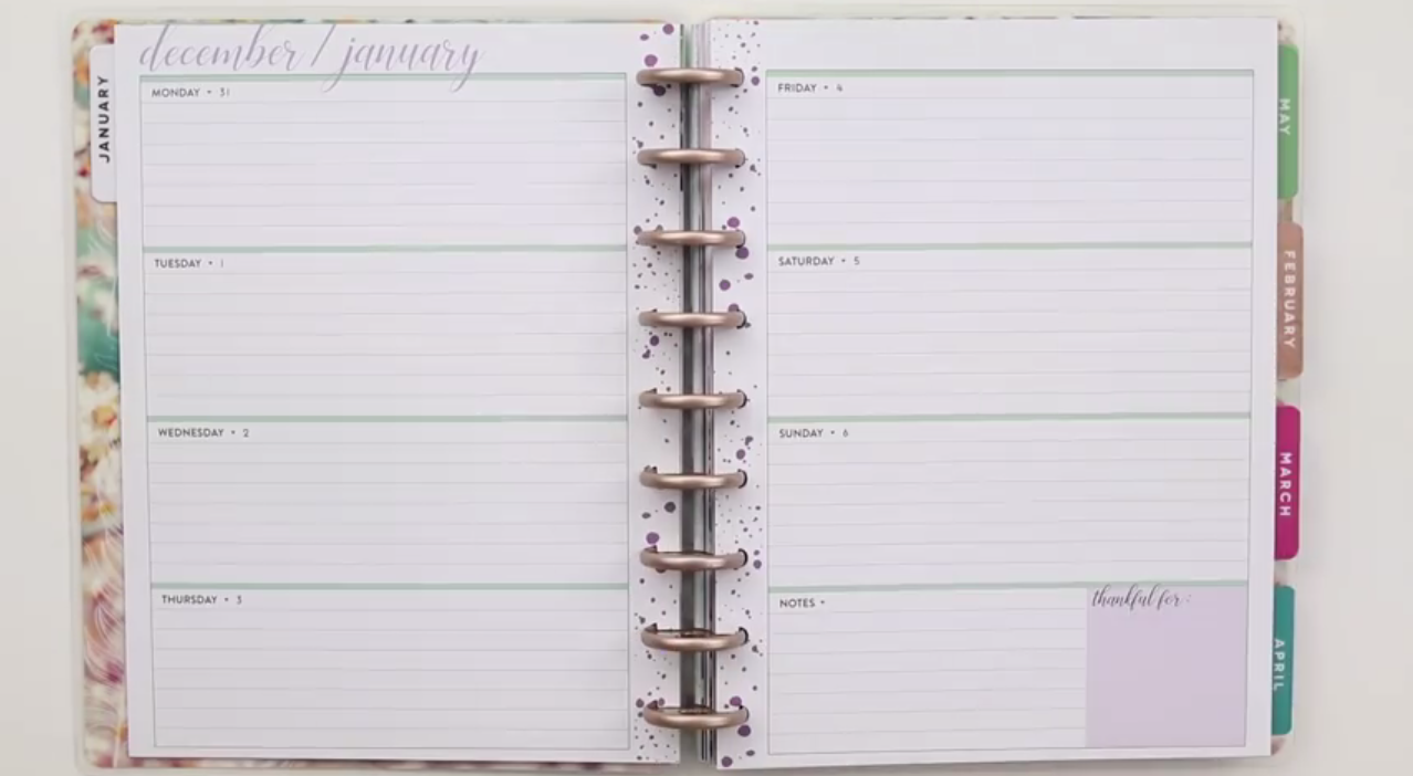 2019 Happy Planner: Beauty in Faith Interior page layout
