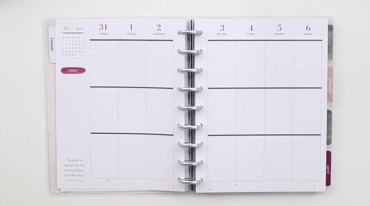 Happy Planner 2019: Boho Deep Tones Interior Page Layout
