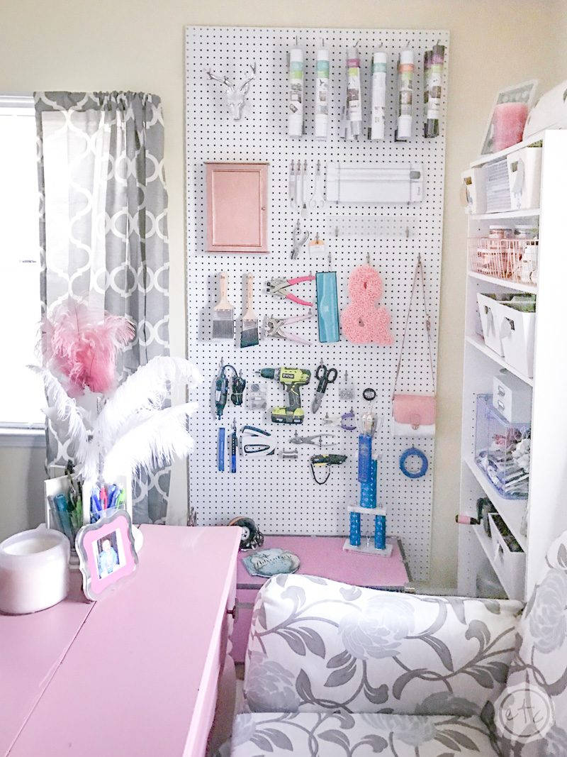 Craft Room Organization Ideas: Pegboard solution for organizing craft supplies