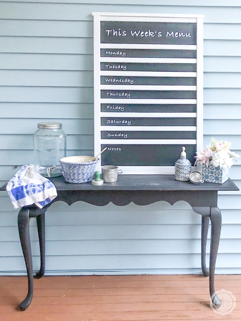 Menu Chalkboard made from an old crib
